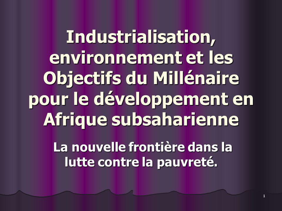 1 Industrialisation, environnement et les Objectifs du Millénaire pour le développement en Afrique subsaharienne La nouvelle frontière dans la lutte c