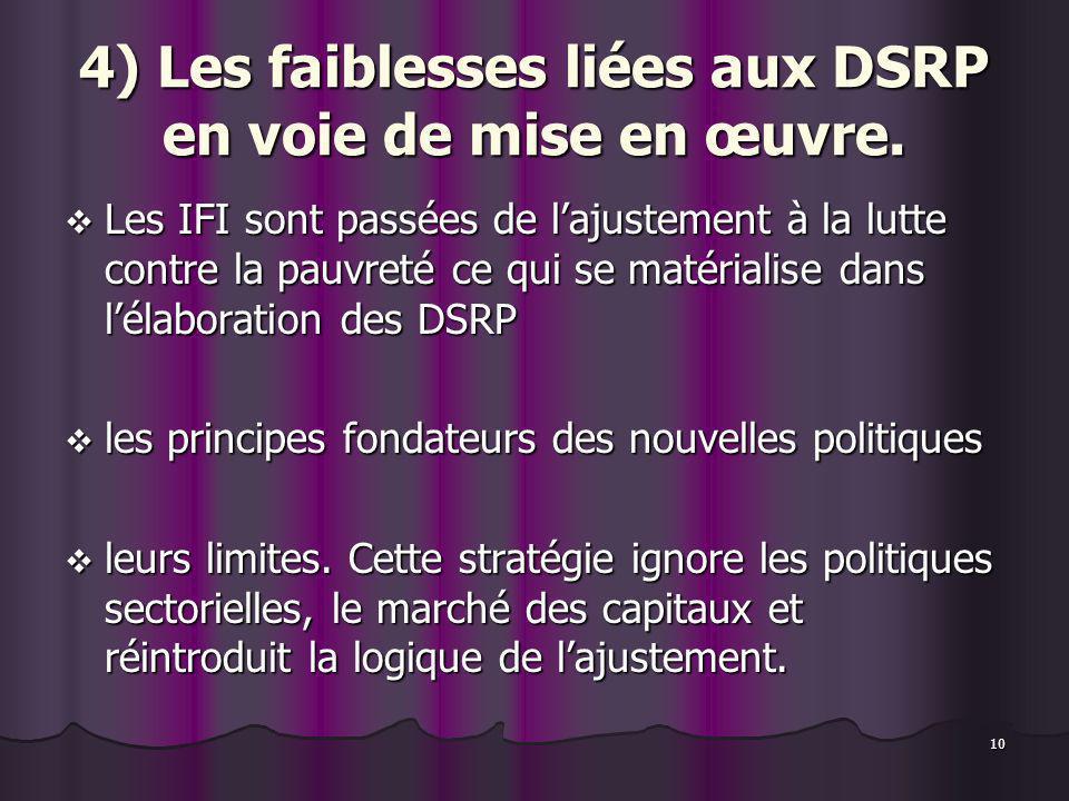 10 4) Les faiblesses liées aux DSRP en voie de mise en œuvre. Les IFI sont passées de lajustement à la lutte contre la pauvreté ce qui se matérialise