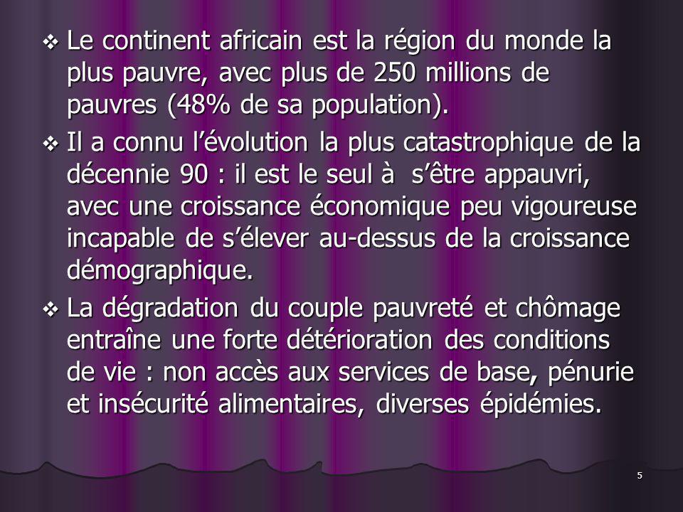 5 Le continent africain est la région du monde la plus pauvre, avec plus de 250 millions de pauvres (48% de sa population). Le continent africain est