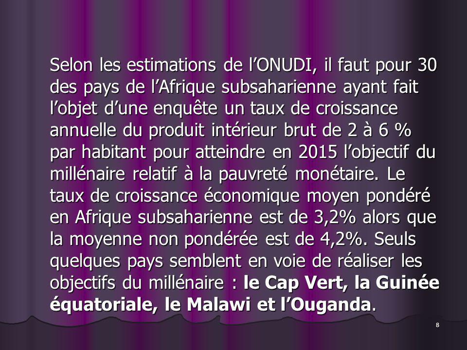 8 Selon les estimations de lONUDI, il faut pour 30 des pays de lAfrique subsaharienne ayant fait lobjet dune enquête un taux de croissance annuelle du