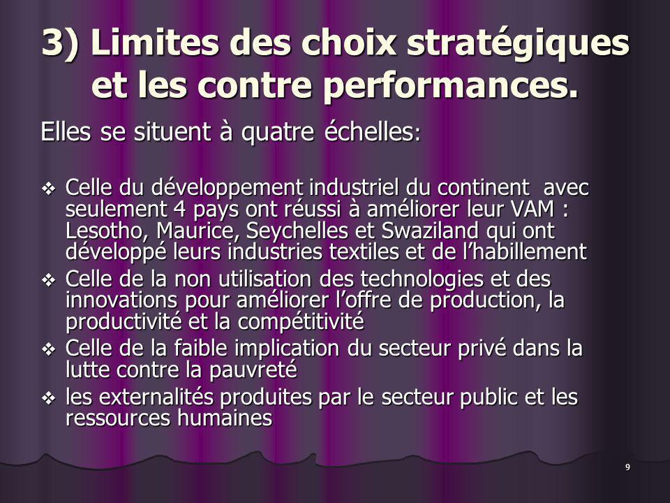 9 3) Limites des choix stratégiques et les contre performances. Elles se situent à quatre échelles : Celle du développement industriel du continent av