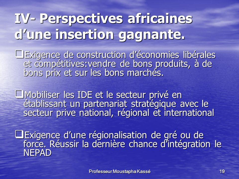 Professeur Moustapha Kassé19 IV- Perspectives africaines dune insertion gagnante.