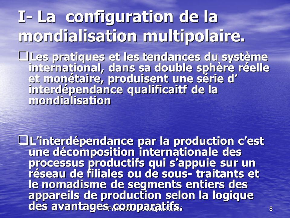 Professeur Moustapha Kassé8 I- La configuration de la mondialisation multipolaire.