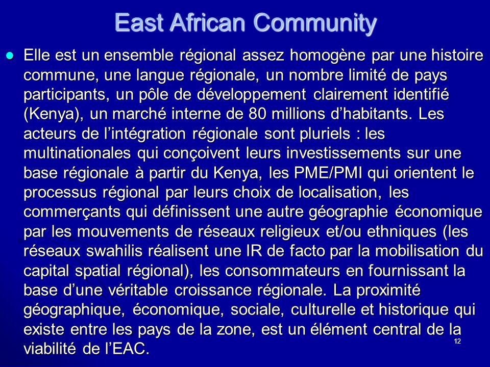 East African Community Elle est un ensemble régional assez homogène par une histoire commune, une langue régionale, un nombre limité de pays participants, un pôle de développement clairement identifié (Kenya), un marché interne de 80 millions dhabitants.
