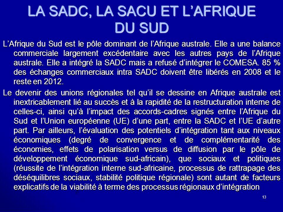 LA SADC, LA SACU ET LAFRIQUE DU SUD LAfrique du Sud est le pôle dominant de lAfrique australe.