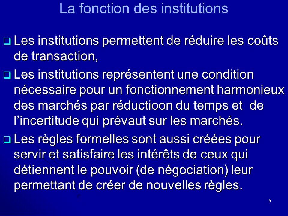 La fonction des institutions Les institutions permettent de réduire les coûts de transaction, Les institutions permettent de réduire les coûts de tran