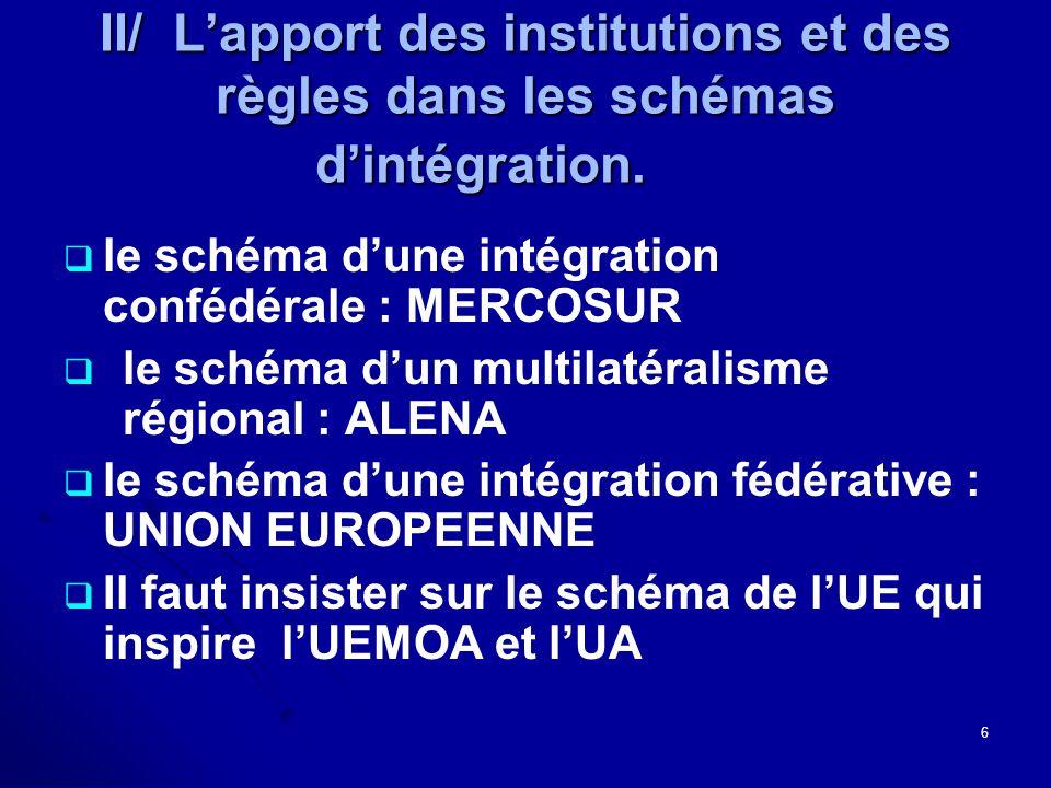 II/ Lapport des institutions et des règles dans les schémas dintégration.