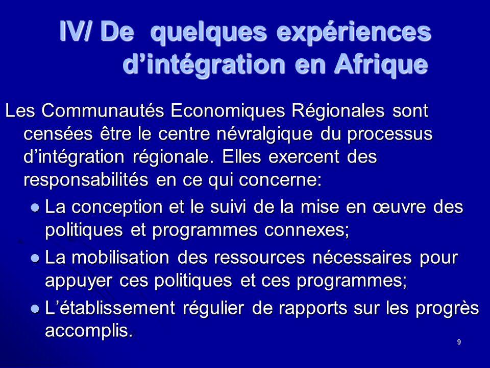 IV/ De quelques expériences dintégration en Afrique Les Communautés Economiques Régionales sont censées être le centre névralgique du processus dintég