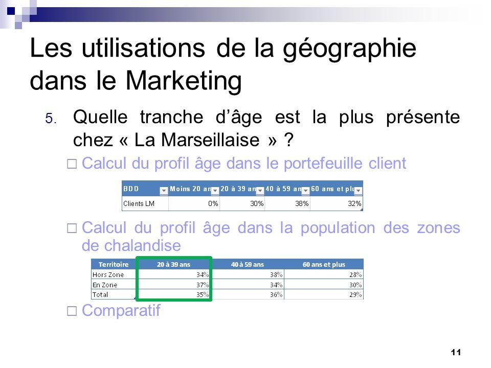 Les utilisations de la géographie dans le Marketing 5. Quelle tranche dâge est la plus présente chez « La Marseillaise » ? Calcul du profil âge dans l