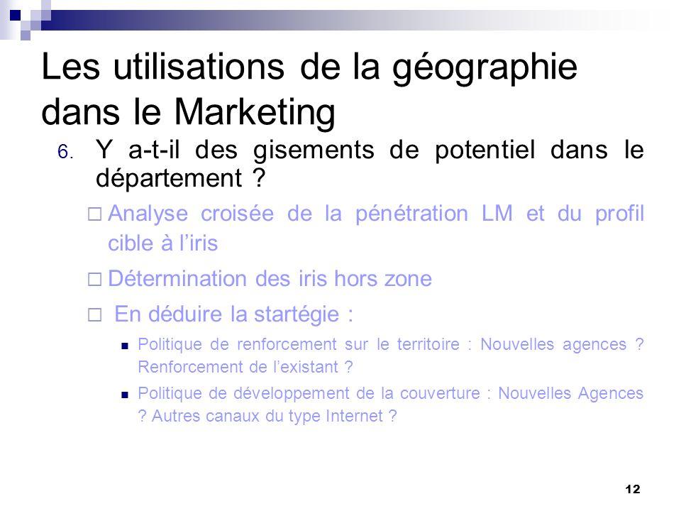 Les utilisations de la géographie dans le Marketing 6. Y a-t-il des gisements de potentiel dans le département ? Analyse croisée de la pénétration LM