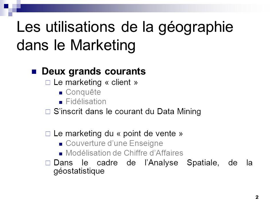 Les utilisations de la géographie dans le Marketing Deux grands courants Le marketing « client » Conquête Fidélisation Sinscrit dans le courant du Dat