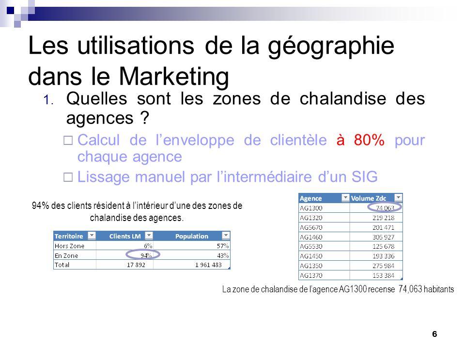 Les utilisations de la géographie dans le Marketing 1. Quelles sont les zones de chalandise des agences ? Calcul de lenveloppe de clientèle à 80% pour
