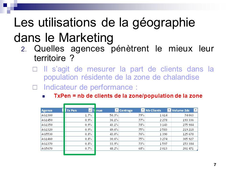 Les utilisations de la géographie dans le Marketing 2. Quelles agences pénètrent le mieux leur territoire ? Il sagit de mesurer la part de clients dan