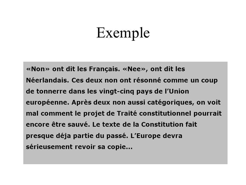 Exemple «Non» ont dit les Français. «Nee», ont dit les Néerlandais. Ces deux non ont résonné comme un coup de tonnerre dans les vingt-cinq pays de lUn