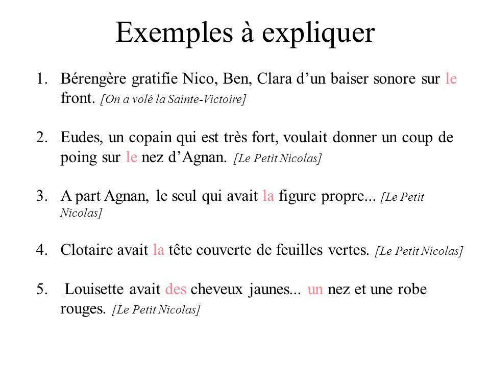 Exemples à expliquer 1.Bérengère gratifie Nico, Ben, Clara dun baiser sonore sur le front. [On a volé la Sainte-Victoire] 2.Eudes, un copain qui est t