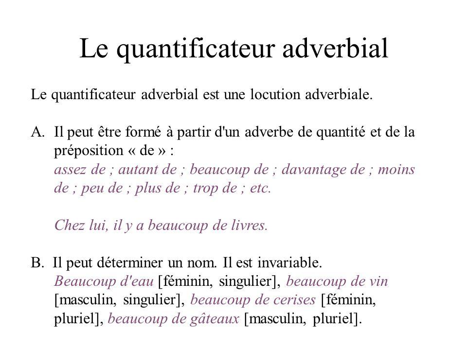Le quantificateur adverbial Le quantificateur adverbial est une locution adverbiale. A.Il peut être formé à partir d'un adverbe de quantité et de la p