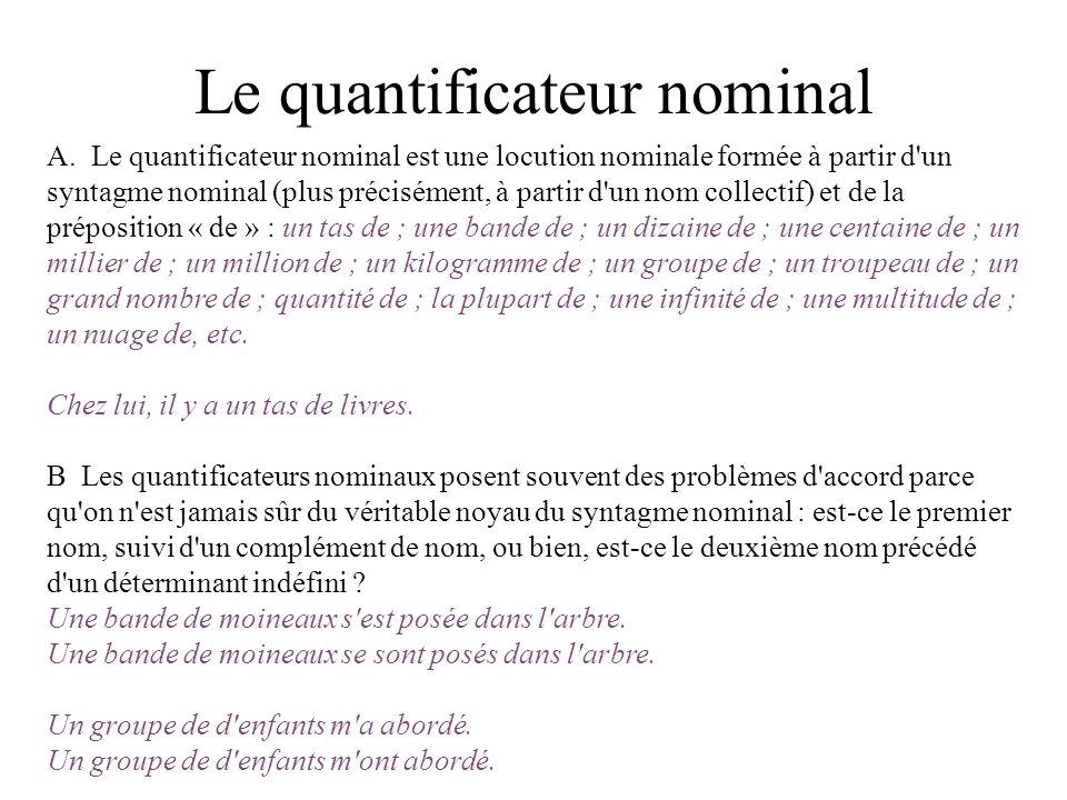 Le quantificateur nominal A. Le quantificateur nominal est une locution nominale formée à partir d'un syntagme nominal (plus précisément, à partir d'u
