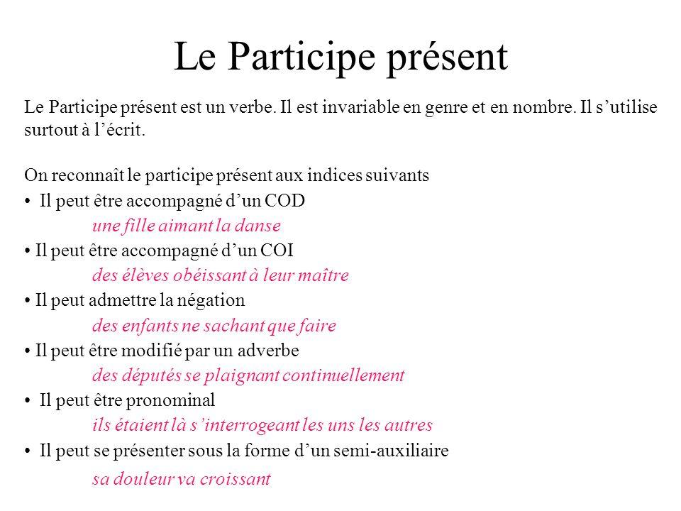 Le Participe présent Le Participe présent est un verbe. Il est invariable en genre et en nombre. Il sutilise surtout à lécrit. On reconnaît le partici