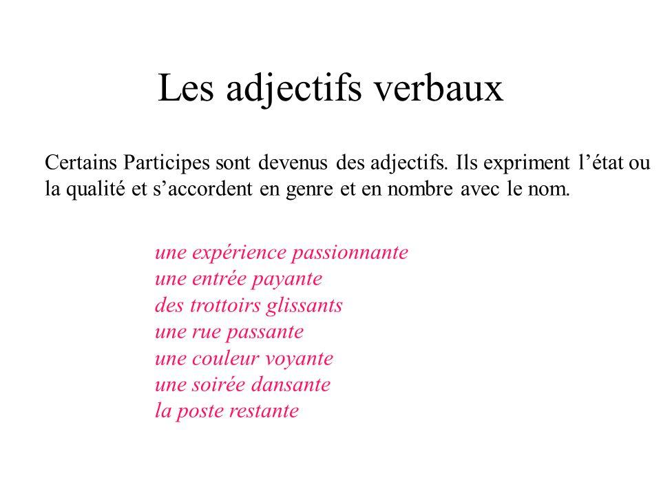 Les adjectifs verbaux Certains Participes sont devenus des adjectifs. Ils expriment létat ou la qualité et saccordent en genre et en nombre avec le no