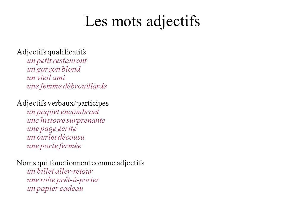 Les adjectifs qui sont toujours postposés 1.Les adjectifs indiquant la couleur, la forme.