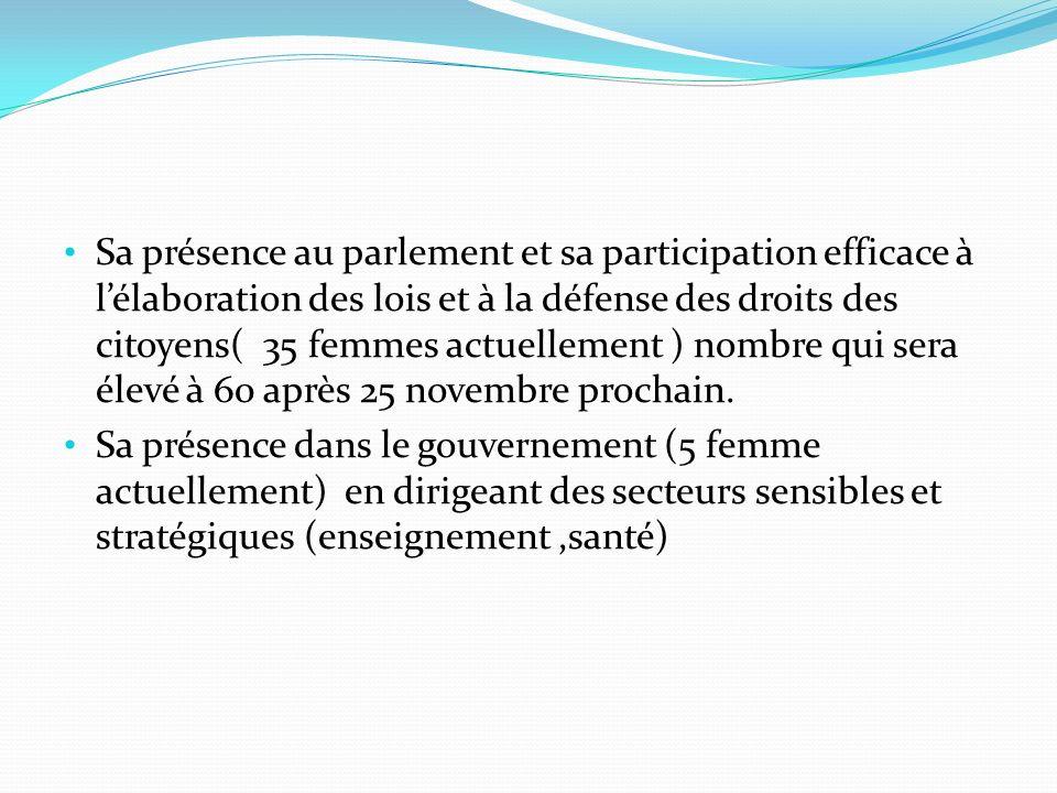 Sa présence au parlement et sa participation efficace à lélaboration des lois et à la défense des droits des citoyens( 35 femmes actuellement ) nombre qui sera élevé à 60 après 25 novembre prochain.