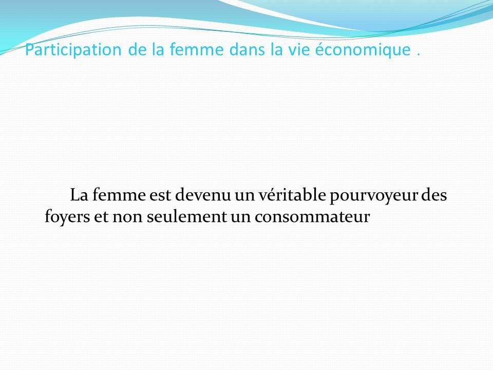 Participation de la femme dans la vie économique. La femme est devenu un véritable pourvoyeur des foyers et non seulement un consommateur
