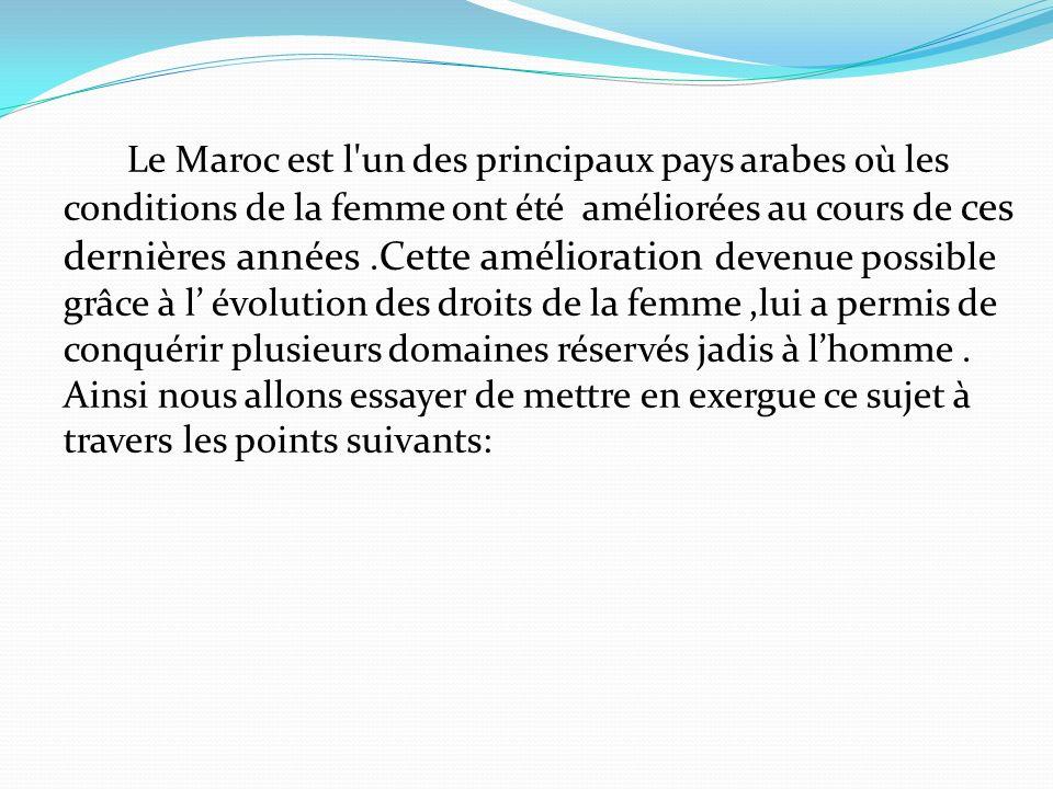 PLAN Amélioration des droits de la femme marocaine.