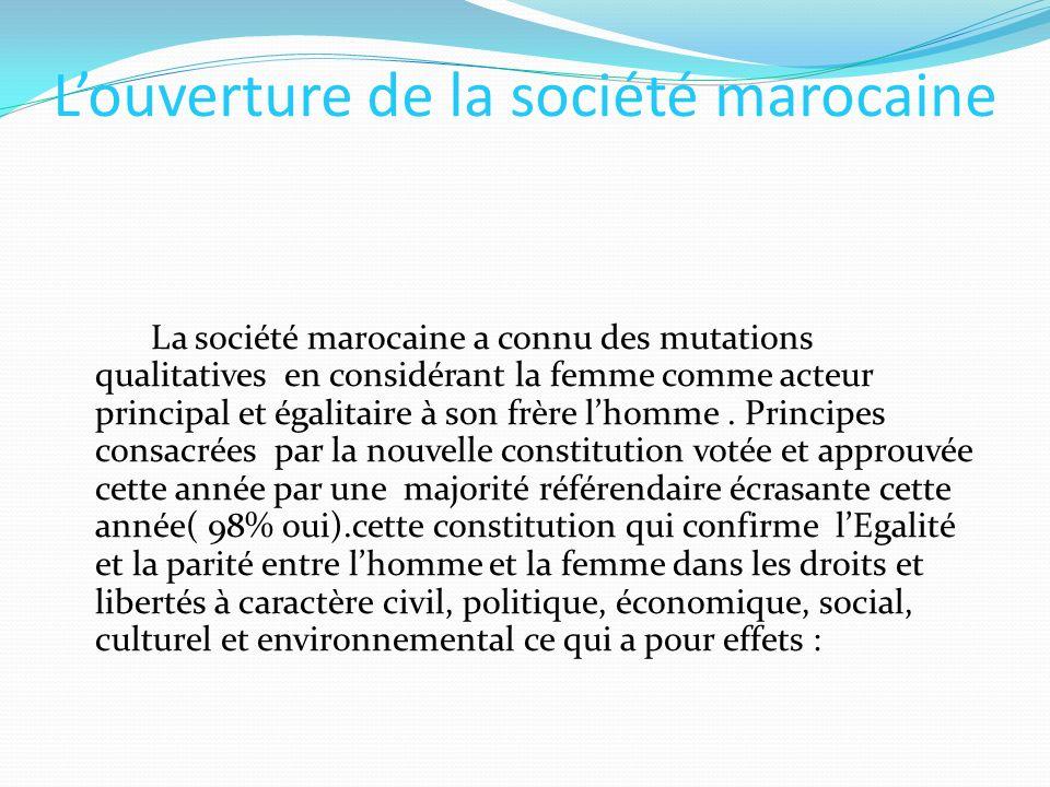 Louverture de la société marocaine La société marocaine a connu des mutations qualitatives en considérant la femme comme acteur principal et égalitair