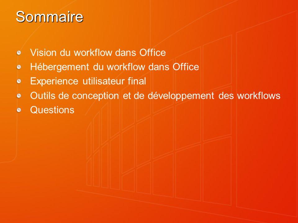 Vision du workflow dans Office Faciliter les processus humains en attachant la logique métier aux éléments et aux documents, dans Windows SharePoint Services, en fournissant des informations de suivi et de contexte.