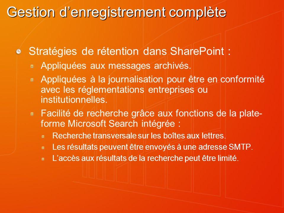 Gestion denregistrement complète Stratégies de rétention dans SharePoint : Appliquées aux messages archivés.