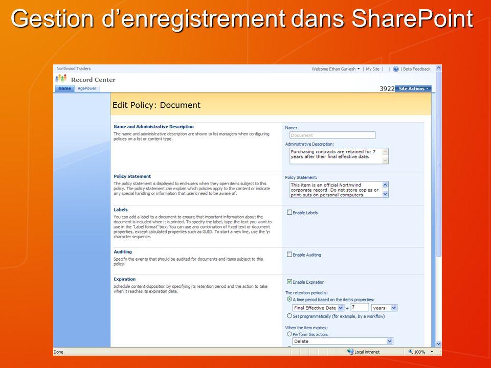 Gestion denregistrement dans SharePoint