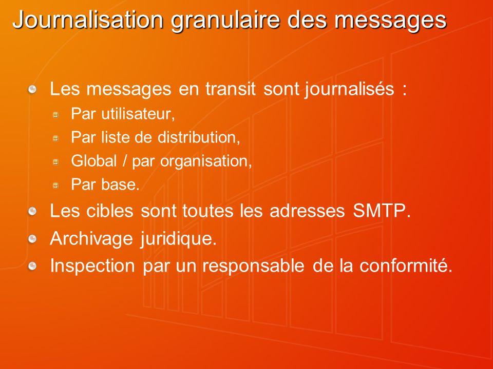Journalisation granulaire des messages Les messages en transit sont journalisés : Par utilisateur, Par liste de distribution, Global / par organisation, Par base.