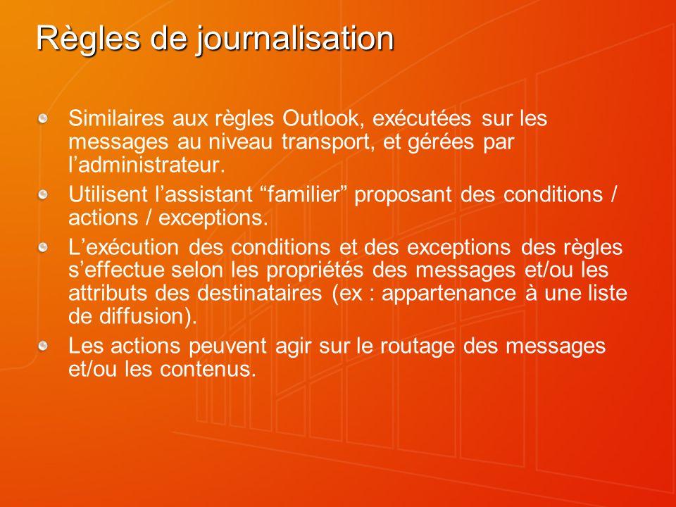 Règles de journalisation Similaires aux règles Outlook, exécutées sur les messages au niveau transport, et gérées par ladministrateur.