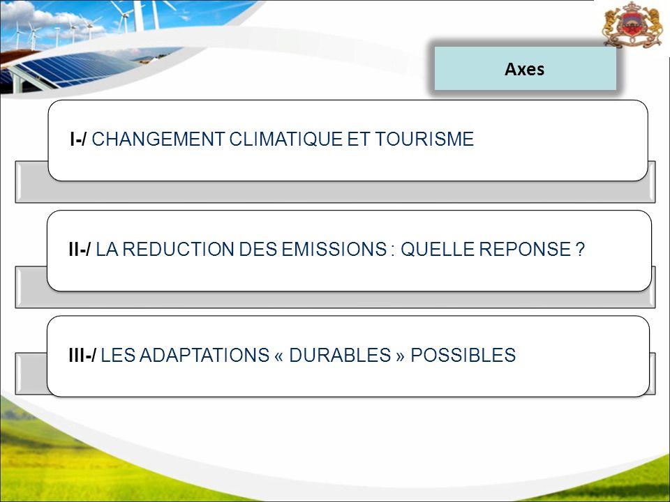 I-/ CHANGEMENT CLIMATIQUE ET TOURISMEII-/ LA REDUCTION DES EMISSIONS : QUELLE REPONSE ?III-/ LES ADAPTATIONS « DURABLES » POSSIBLES Axes
