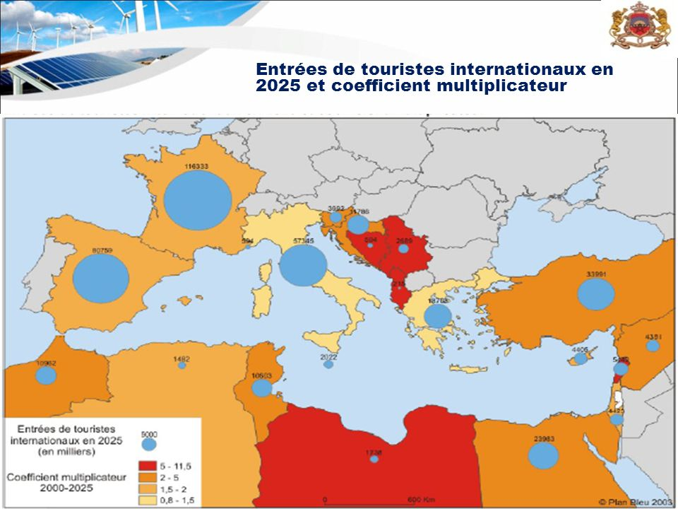 Entrées de touristes internationaux en 2025 et coefficient multiplicateur