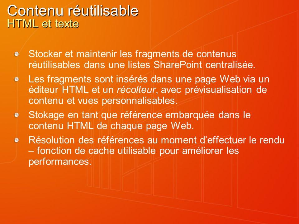 Contenu réutilisable HTML et texte Stocker et maintenir les fragments de contenus réutilisables dans une listes SharePoint centralisée. Les fragments