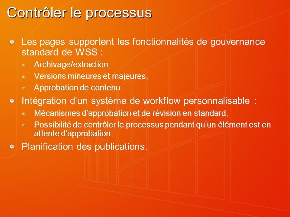 Contrôler le processus Les pages supportent les fonctionnalités de gouvernance standard de WSS : Archivage/extraction, Versions mineures et majeures, Approbation de contenu.