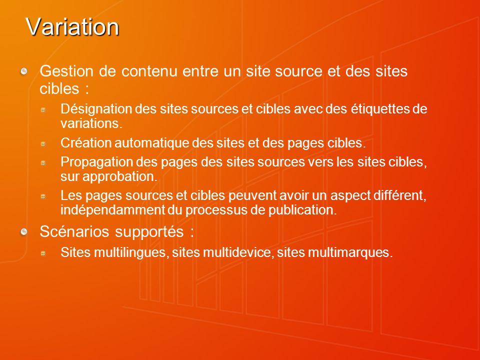 Variation Gestion de contenu entre un site source et des sites cibles : Désignation des sites sources et cibles avec des étiquettes de variations.