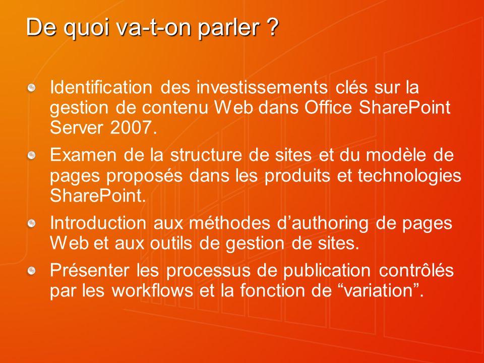 De quoi va-t-on parler ? Identification des investissements clés sur la gestion de contenu Web dans Office SharePoint Server 2007. Examen de la struct