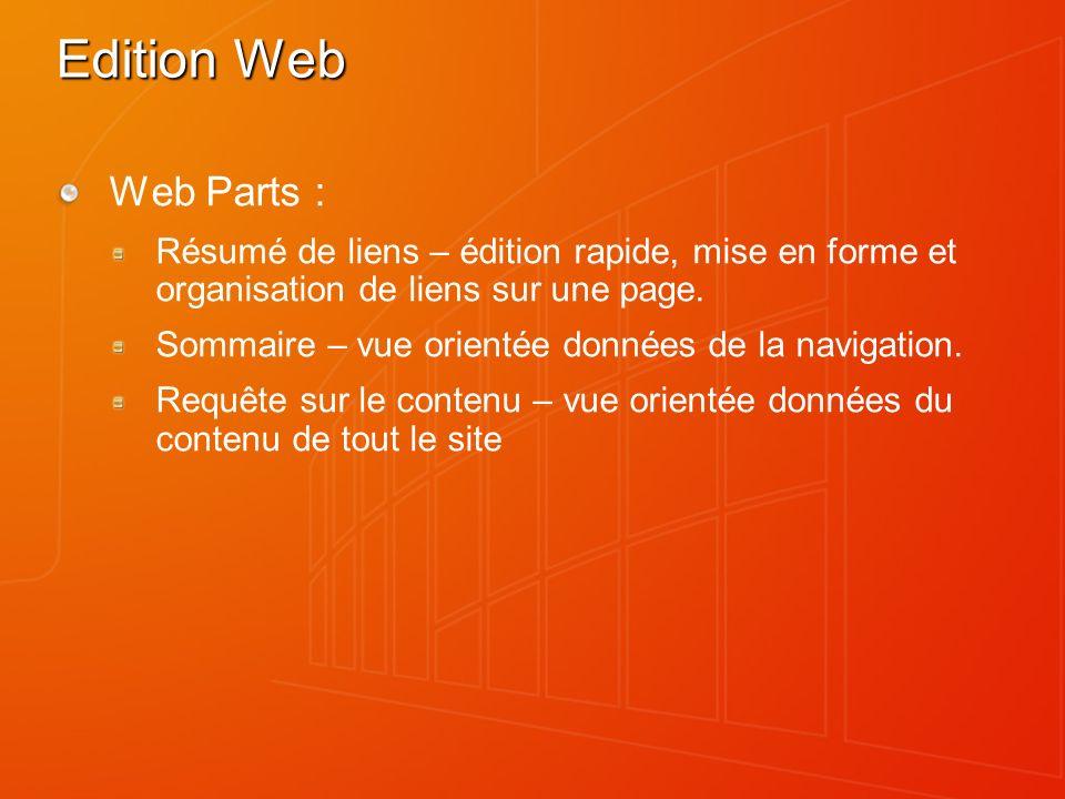 Edition Web Web Parts : Résumé de liens – édition rapide, mise en forme et organisation de liens sur une page. Sommaire – vue orientée données de la n