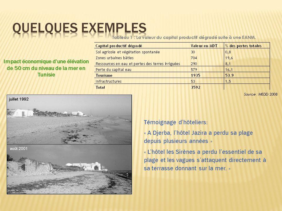 Impact économique dune élévation de 50 cm du niveau de la mer en Tunisie Témoignage dhôteliers: « A Djerba, lhôtel Jazira a perdu sa plage depuis plusieurs années » « Lhôtel les Sirènes a perdu lessentiel de sa plage et les vagues sattaquent directement à sa terrasse donnant sur la mer.