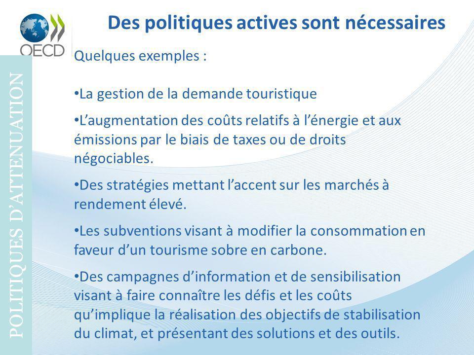 Des politiques actives sont nécessaires POLITIQUES DATTENUATION Quelques exemples : La gestion de la demande touristique Laugmentation des coûts relat