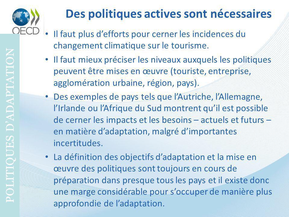 Des politiques actives sont nécessaires POLITIQUES DADAPTATION Il faut plus defforts pour cerner les incidences du changement climatique sur le touris