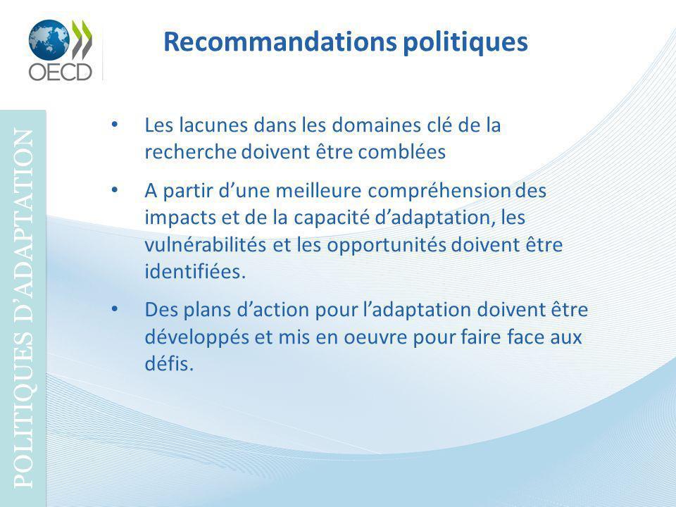 Recommandations politiques POLITIQUES DADAPTATION Les lacunes dans les domaines clé de la recherche doivent être comblées A partir dune meilleure comp