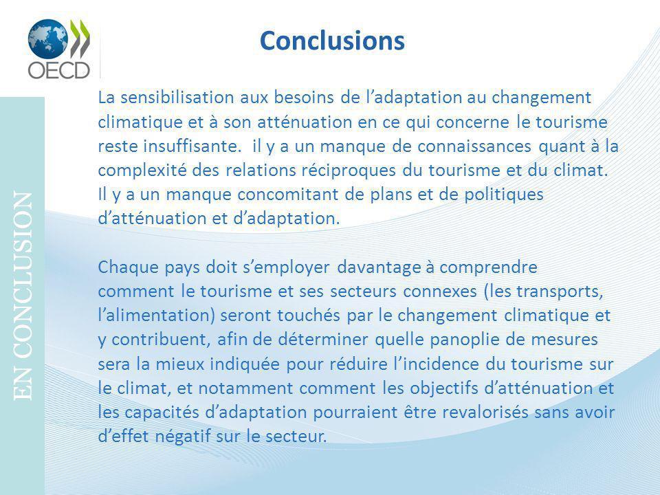 Conclusions EN CONCLUSION La sensibilisation aux besoins de ladaptation au changement climatique et à son atténuation en ce qui concerne le tourisme r
