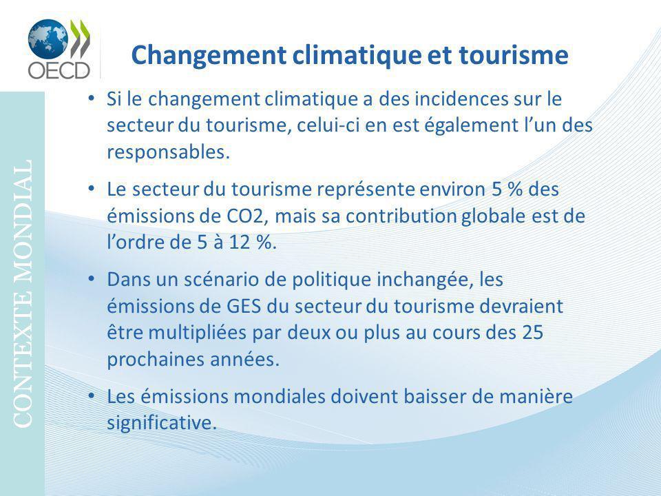 Changement climatique et tourisme CONTEXTE MONDIAL Si le changement climatique a des incidences sur le secteur du tourisme, celui-ci en est également