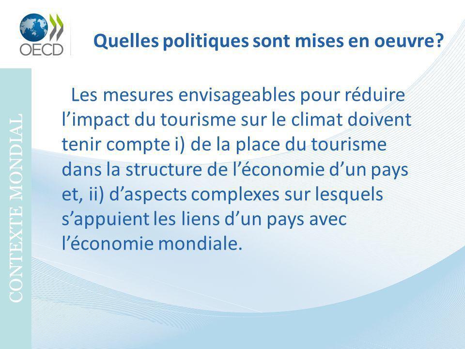 Quelles politiques sont mises en oeuvre? CONTEXTE MONDIAL Les mesures envisageables pour réduire limpact du tourisme sur le climat doivent tenir compt
