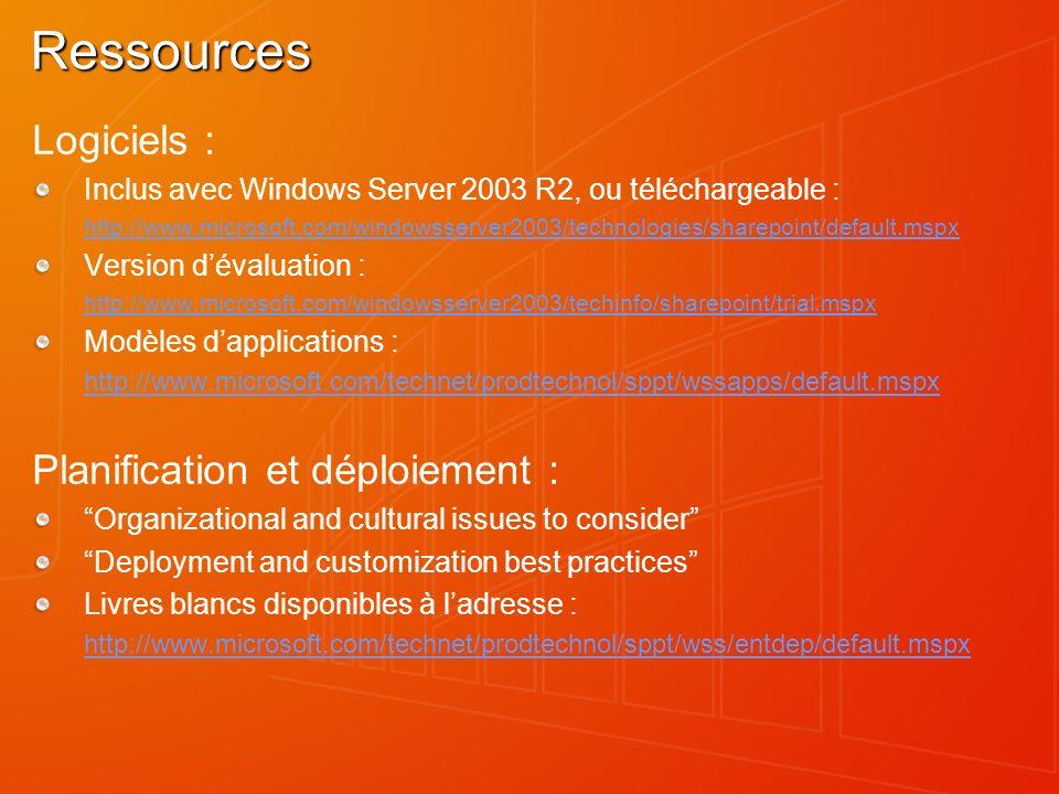 Ressources Logiciels : Inclus avec Windows Server 2003 R2, ou téléchargeable : http://www.microsoft.com/windowsserver2003/technologies/sharepoint/defa
