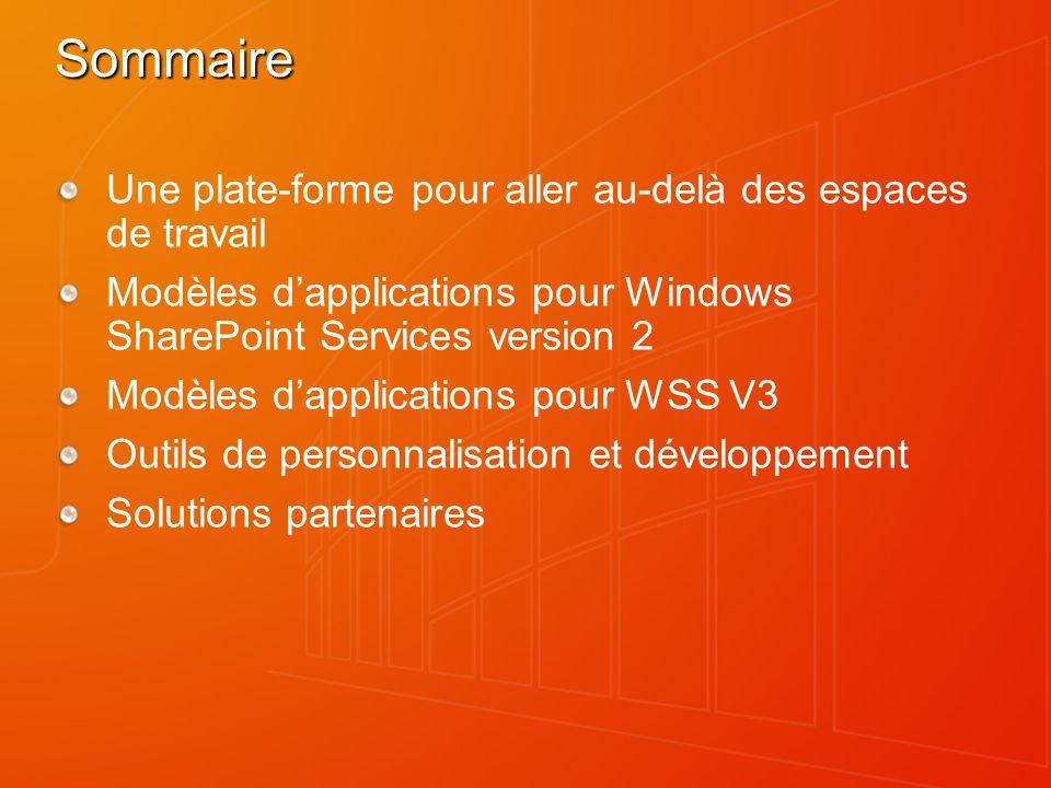 Sommaire Une plate-forme pour aller au-delà des espaces de travail Modèles dapplications pour Windows SharePoint Services version 2 Modèles dapplicati