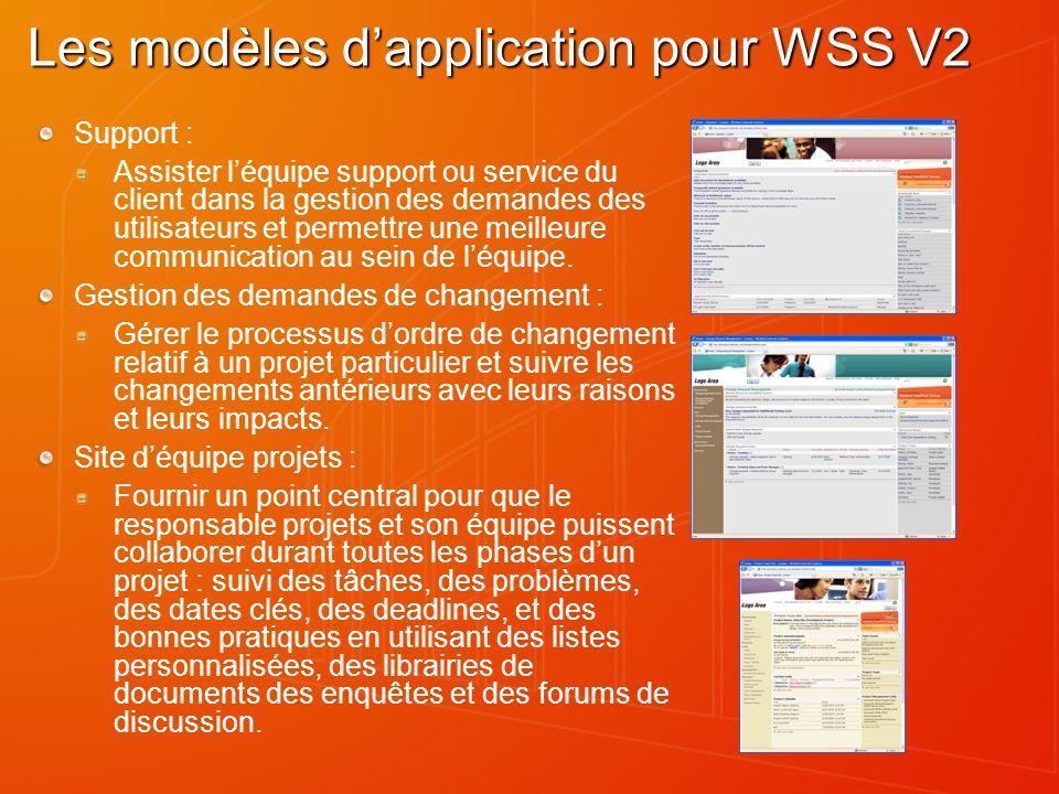 Les modèles dapplication pour WSS V2 Support : Assister léquipe support ou service du client dans la gestion des demandes des utilisateurs et permettr